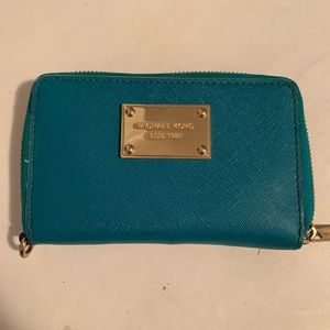 Michael Kors Mini Turquoise Zip Around Wallet